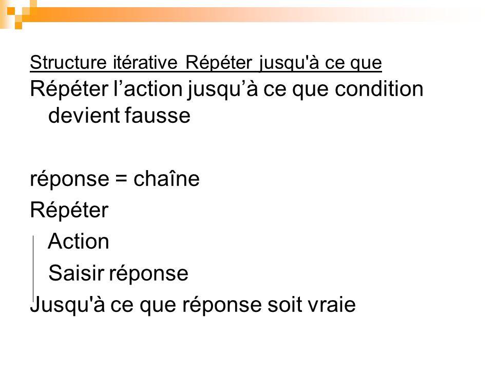 Structure itérative Répéter jusqu'à ce que Répéter laction jusquà ce que condition devient fausse réponse = chaîne Répéter Action Saisir réponse Jusqu