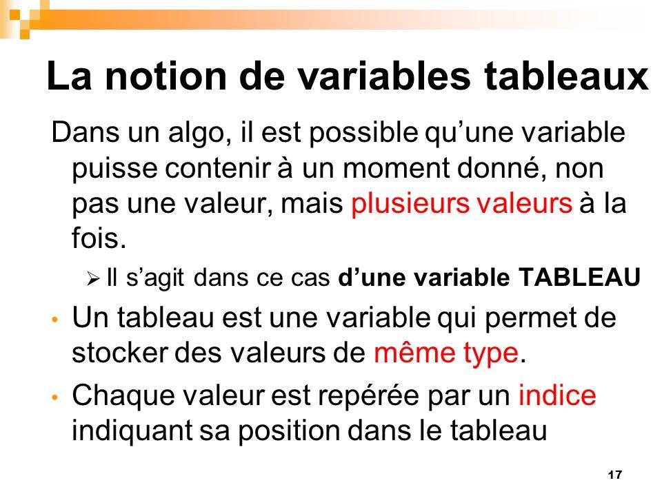 17 La notion de variables tableaux Dans un algo, il est possible quune variable puisse contenir à un moment donné, non pas une valeur, mais plusieurs