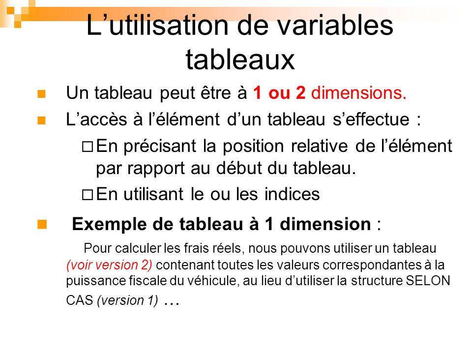 Lutilisation de variables tableaux Un tableau peut être à 1 ou 2 dimensions. Laccès à lélément dun tableau seffectue : En précisant la position relati