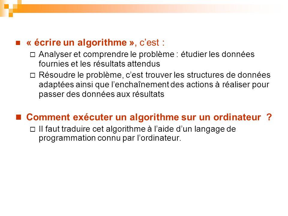 « écrire un algorithme », cest : Analyser et comprendre le problème : étudier les données fournies et les résultats attendus Résoudre le problème, ces