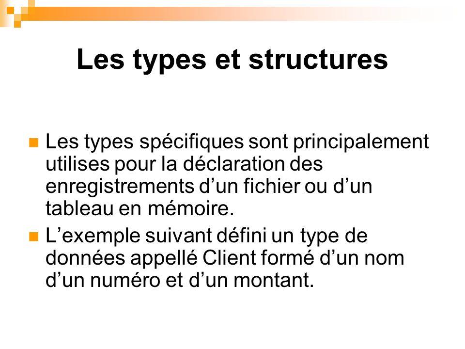 Les types et structures Les types spécifiques sont principalement utilises pour la déclaration des enregistrements dun fichier ou dun tableau en mémoi