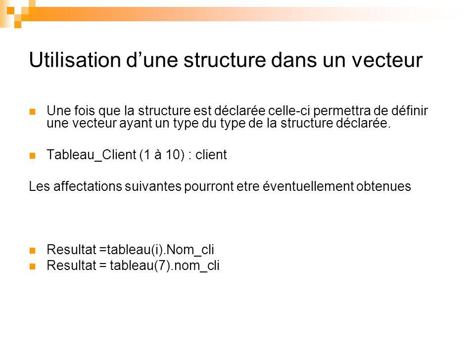 Utilisation dune structure dans un vecteur Une fois que la structure est déclarée celle-ci permettra de définir une vecteur ayant un type du type de l