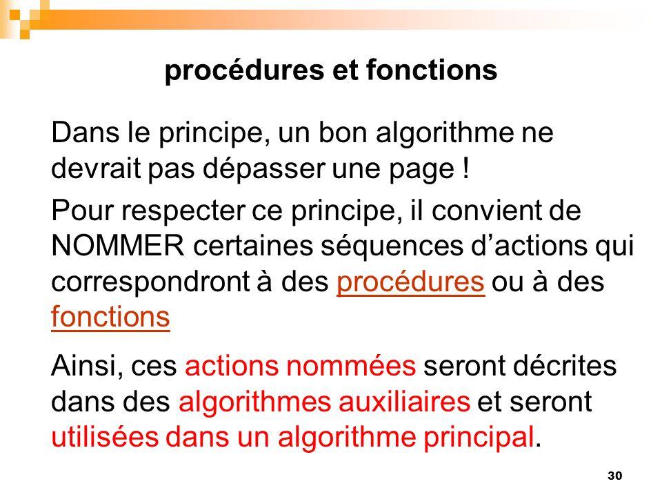 30 procédures et fonctions Dans le principe, un bon algorithme ne devrait pas dépasser une page ! Pour respecter ce principe, il convient de NOMMER ce