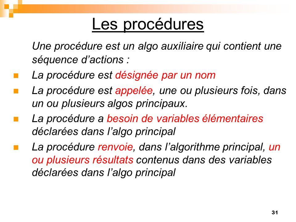 31 Les procédures Une procédure est un algo auxiliaire qui contient une séquence dactions : La procédure est désignée par un nom La procédure est appe