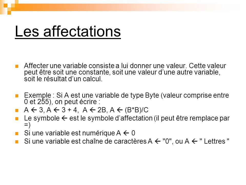 Les affectations Affecter une variable consiste a lui donner une valeur. Cette valeur peut être soit une constante, soit une valeur dune autre variabl