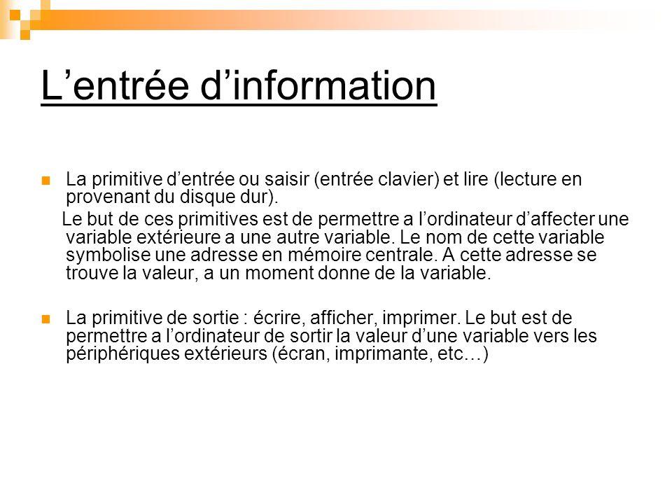 Lentrée dinformation La primitive dentrée ou saisir (entrée clavier) et lire (lecture en provenant du disque dur). Le but de ces primitives est de per