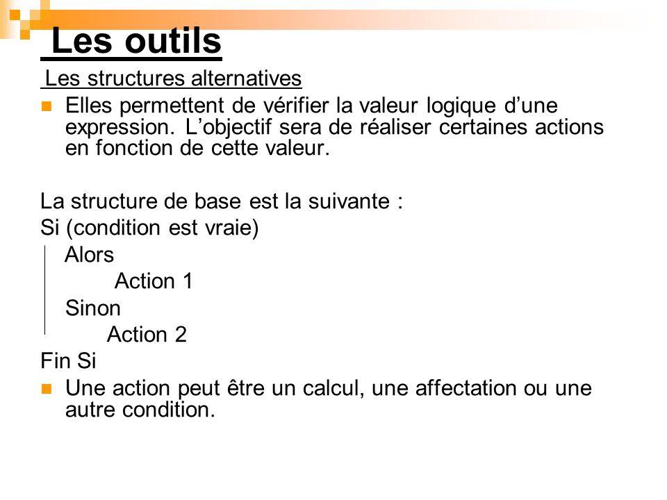 Les outils Les structures alternatives Elles permettent de vérifier la valeur logique dune expression. Lobjectif sera de réaliser certaines actions en