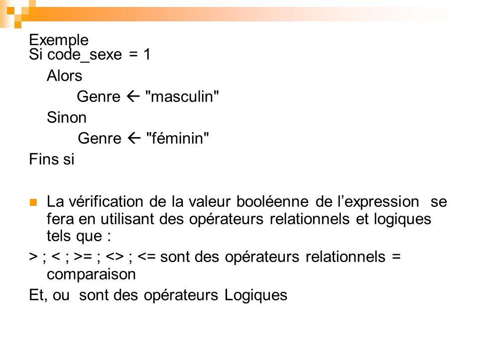 Exercice Structure : Etudiant Code_Etu: Entier Nom: Chaîne Prénom : Chaîne Fin Structure Debut Table_BTS1 (20) : Etudiant Pour I de 1 a 20 Faire Saisir Table BTS1(i).Code_Etu Saisir Table BTS1(i).Nom Saisir Table BTS1(i).Prénom Fin Pour Fin Procédure Recherche Début Argument: Chaîne REP: Chaîne REP - « oui » I : Entier Tant que REP = « oui » Faire I 1 Saisir Argument Tant que Argument <> Table_BTS1 (i).Nom et I <= 20 Faire i i + 1 Fin Tq Si Argument = Table_BTS1 (i).Nom Alors Afficher Table_BTS1 (i).Code_Etu Afficher Table_BTS1 (i).Prenom Sinon Afficher « Etudiant inexistant » FSi Saisir « Autre interrogation ».REP Fin