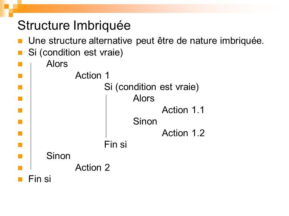 Structure Imbriquée Une structure alternative peut être de nature imbriquée. Si (condition est vraie) Alors Action 1 Si (condition est vraie) Alors Ac