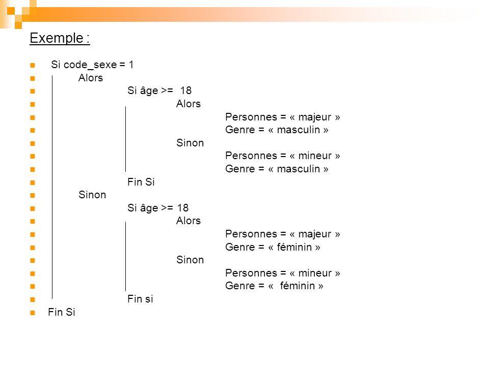 Optimisation : Si code_sexe = 1 et âge >= 18 Alors Personnes = « majeur » Genre = « masculin » Sinon Personnes = « mineur » Genre = « masculin » Si code_sexe = 2 et age >= 18 Alors Personnes = « majeur » Genre = « féminin » Sinon Personnes = « mineur » Genre = « féminin» Fin si