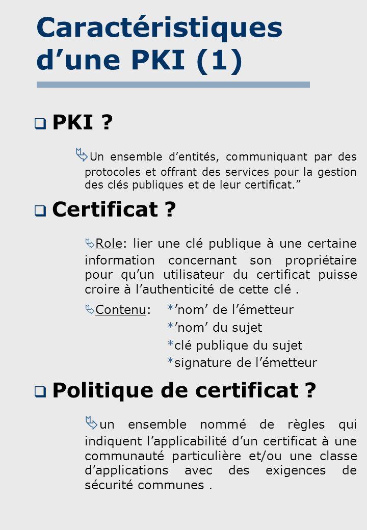 Caractéristiques dune PKI (2) Relations de confiance .