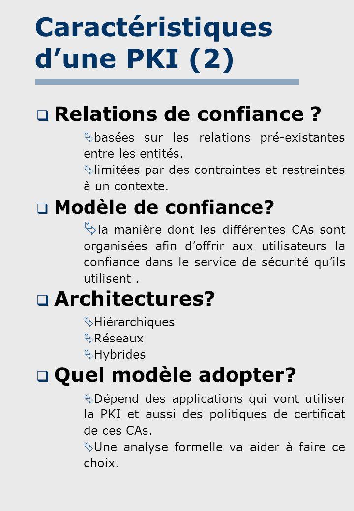 Notre approche(1) Intérêt: Les formules utilisées permettent la modélisation des certificats et des relations de confiance entre les entités dun modèle ainsi que leur croyances concernant lauthenticité des clés publiques.