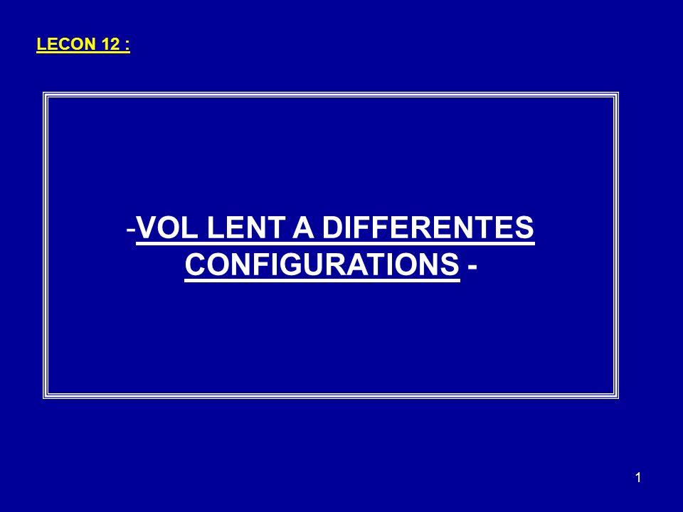 22 La configuration atterrissage se caractérise par : - Volets au delà de 10° - Assiette légère à piquer - Vitesse 1,3 Vs0 - Inclinaison max 20° - Pré affichage : 2200 tr/min C) CONFIGURATION ATTERRISSAGE : 3– CHANGEMENTS DE CONFIGURATIONS: Ex : - 1,3 Vs0 : 1,3 x 50 = 65 kts 20° max