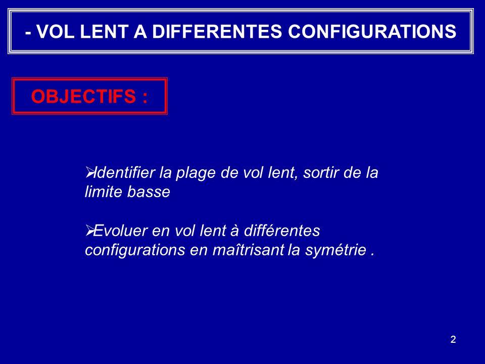 2 - VOL LENT A DIFFERENTES CONFIGURATIONS Identifier la plage de vol lent, sortir de la limite basse Evoluer en vol lent à différentes configurations