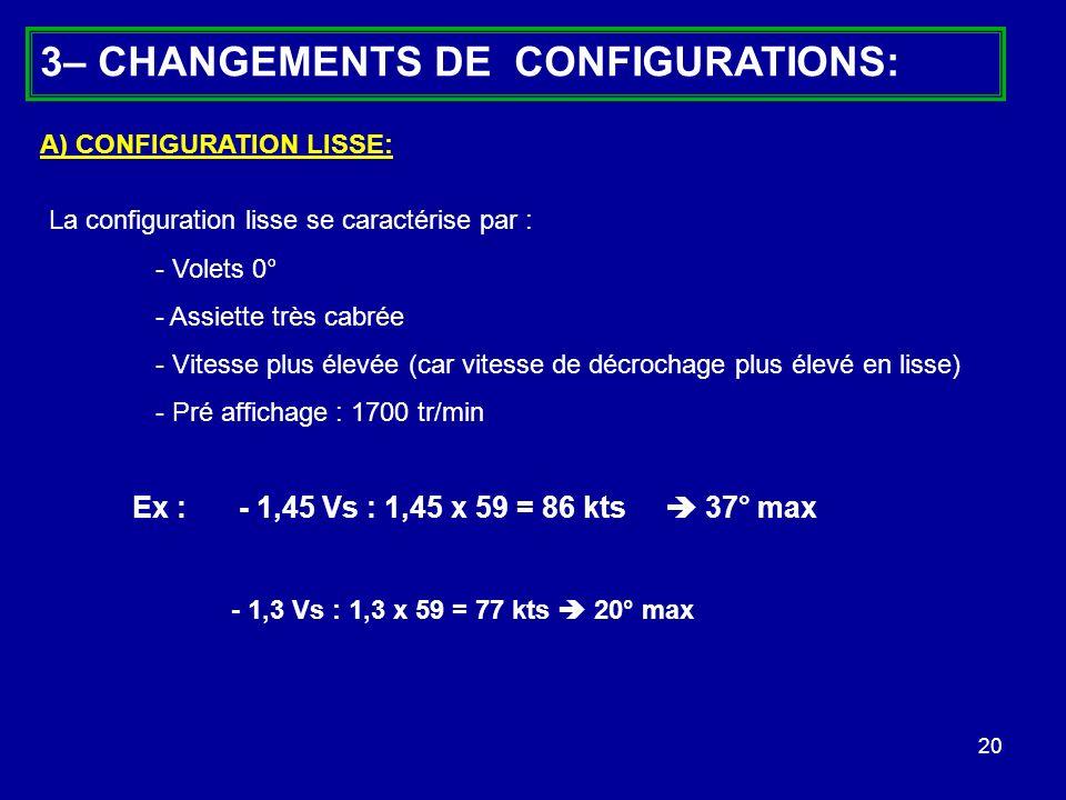 20 A) CONFIGURATION LISSE: La configuration lisse se caractérise par : - Volets 0° - Assiette très cabrée - Vitesse plus élevée (car vitesse de décroc