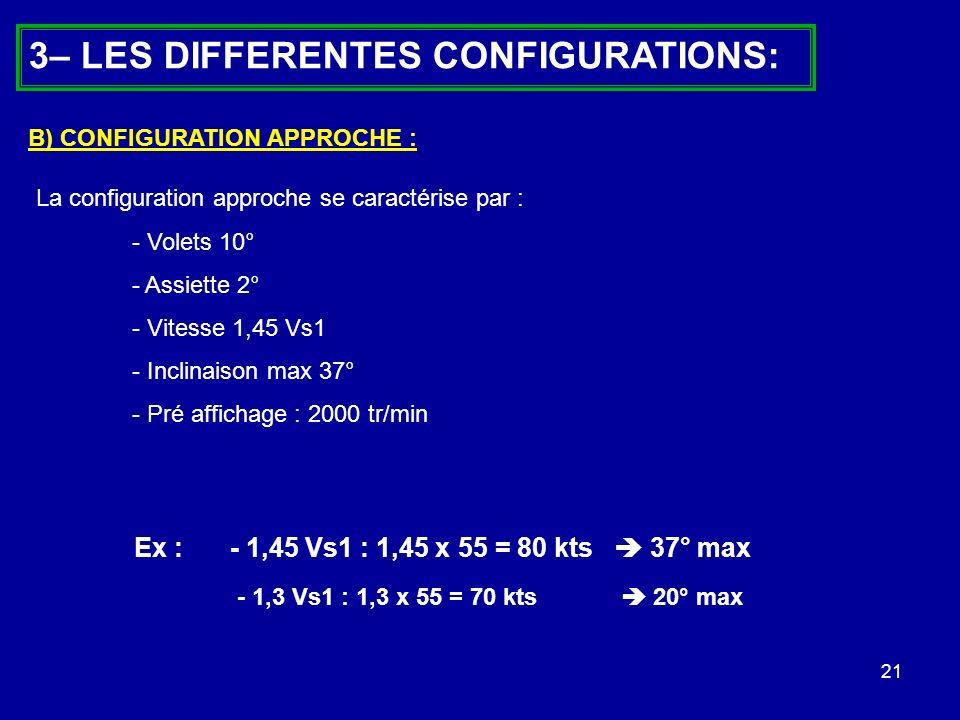 21 3– LES DIFFERENTES CONFIGURATIONS: La configuration approche se caractérise par : - Volets 10° - Assiette 2° - Vitesse 1,45 Vs1 - Inclinaison max 3
