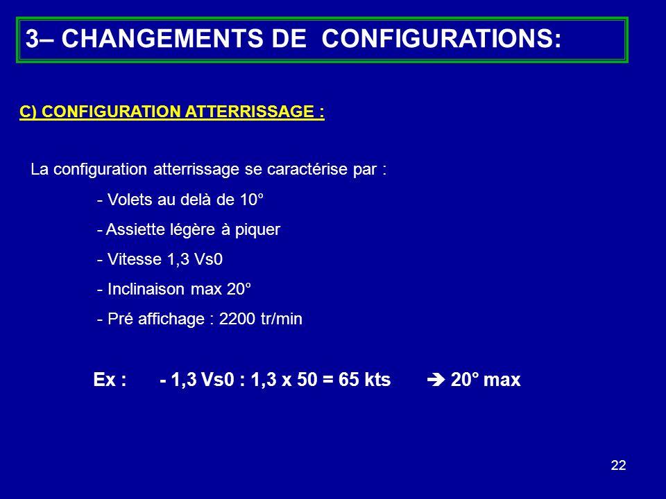 22 La configuration atterrissage se caractérise par : - Volets au delà de 10° - Assiette légère à piquer - Vitesse 1,3 Vs0 - Inclinaison max 20° - Pré