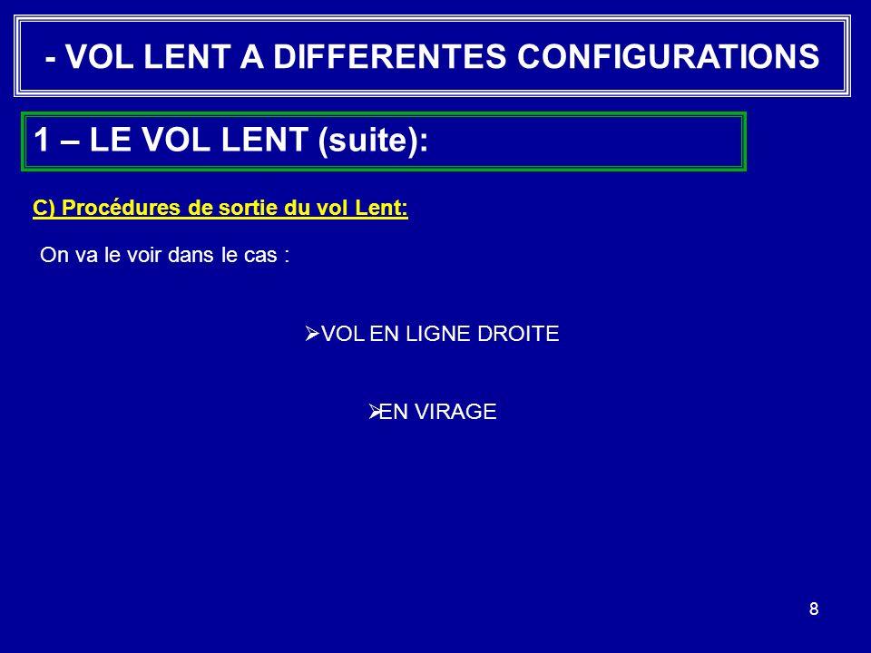 8 - VOL LENT A DIFFERENTES CONFIGURATIONS 1 – LE VOL LENT (suite): C) Procédures de sortie du vol Lent: On va le voir dans le cas : VOL EN LIGNE DROIT