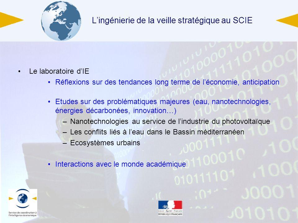 4 juin 2013 Lingénierie de la veille stratégique au SCIE Le laboratoire dIE Réflexions sur des tendances long terme de léconomie, anticipation Etudes