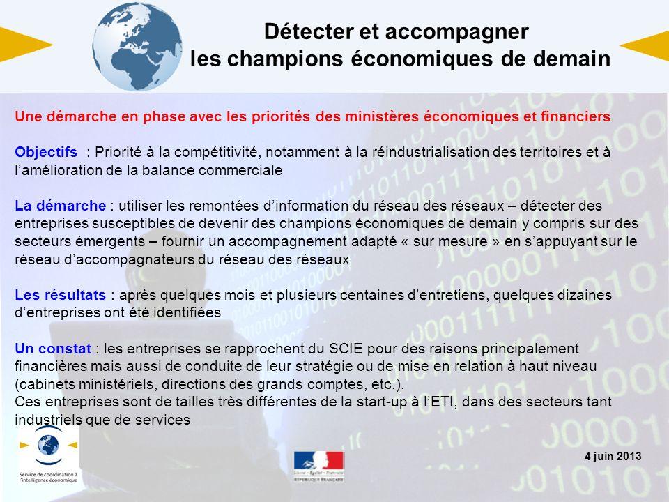 4 juin 2013 Détecter et accompagner les champions économiques de demain Une démarche en phase avec les priorités des ministères économiques et financi