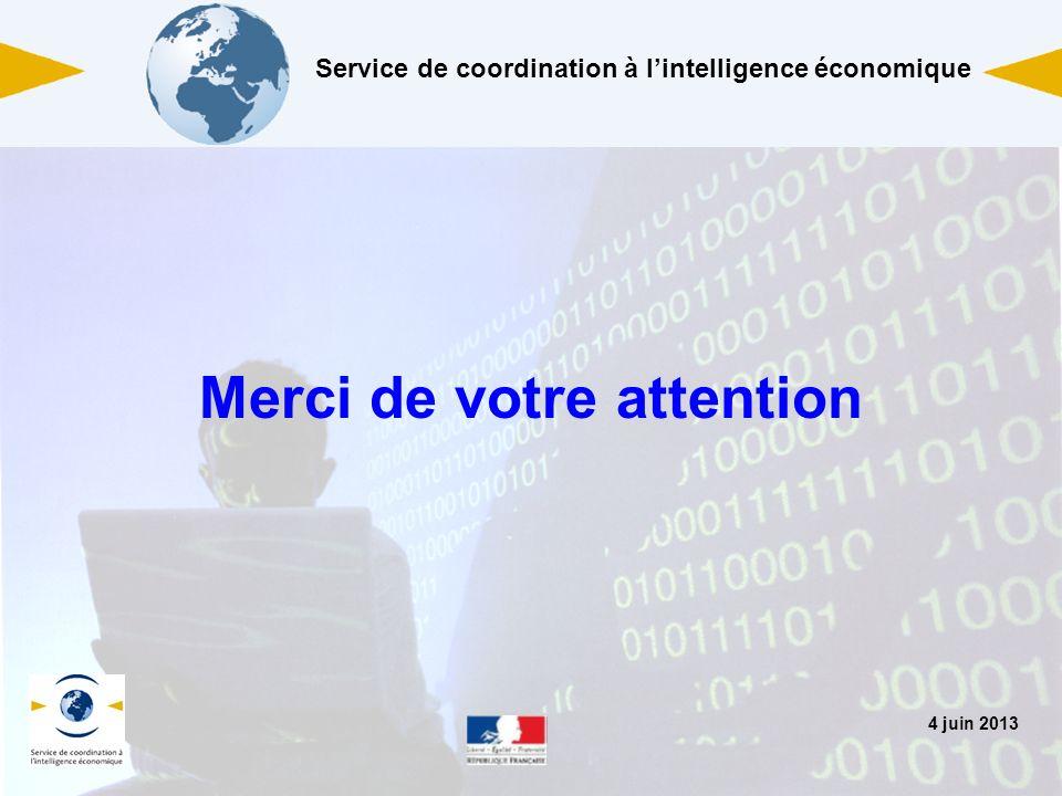 4 juin 2013 Merci de votre attention Service de coordination à lintelligence économique