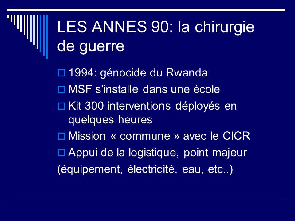 LES ANNES 90: la chirurgie de guerre 1994: génocide du Rwanda MSF sinstalle dans une école Kit 300 interventions déployés en quelques heures Mission «