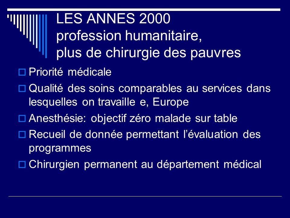 LES ANNES 2000 profession humanitaire, plus de chirurgie des pauvres Priorité médicale Qualité des soins comparables au services dans lesquelles on tr