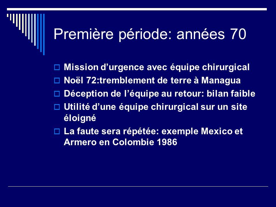 Première période: années 70 Mission durgence avec équipe chirurgical Noël 72:tremblement de terre à Managua Déception de léquipe au retour: bilan faib