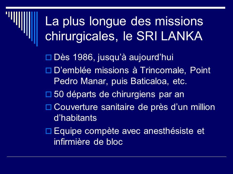 La plus longue des missions chirurgicales, le SRI LANKA Dès 1986, jusquà aujourdhui Demblée missions à Trincomale, Point Pedro Manar, puis Baticaloa,
