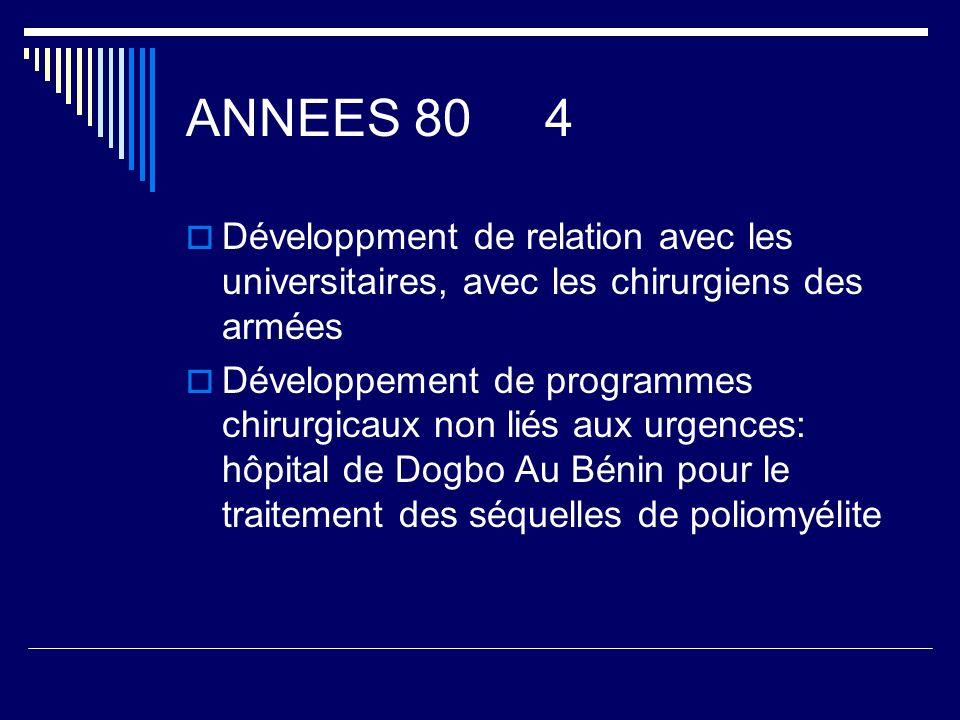 ANNEES 80 4 Développment de relation avec les universitaires, avec les chirurgiens des armées Développement de programmes chirurgicaux non liés aux ur