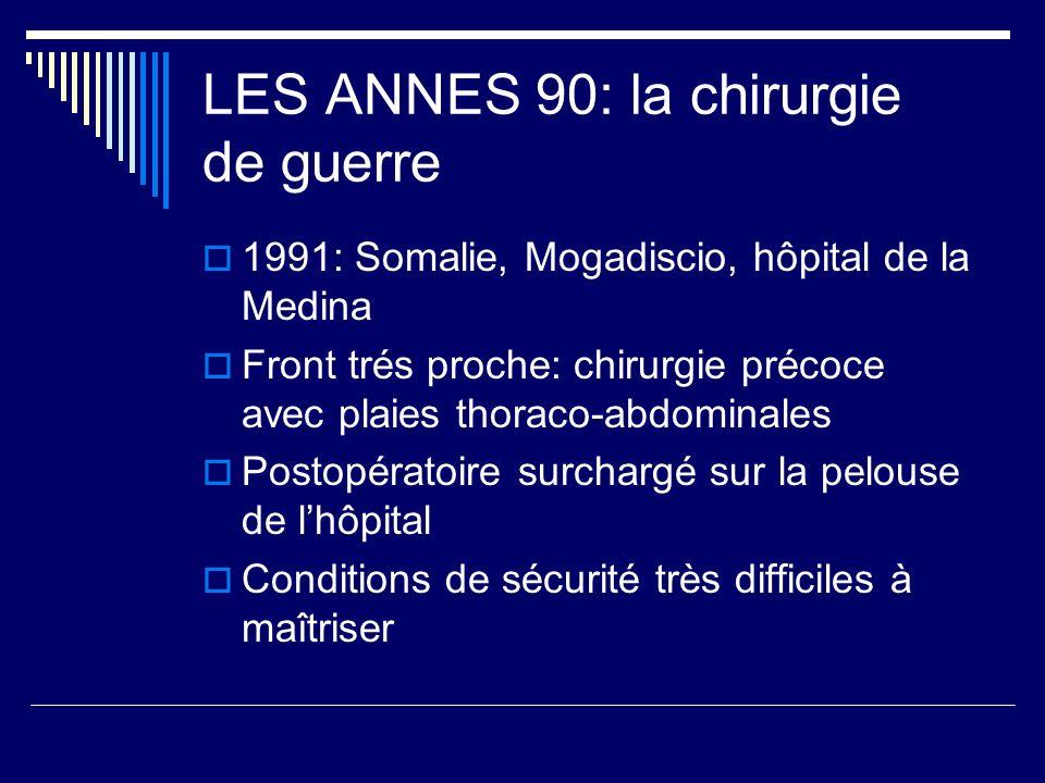 LES ANNES 90: la chirurgie de guerre 1991: Somalie, Mogadiscio, hôpital de la Medina Front trés proche: chirurgie précoce avec plaies thoraco-abdomina