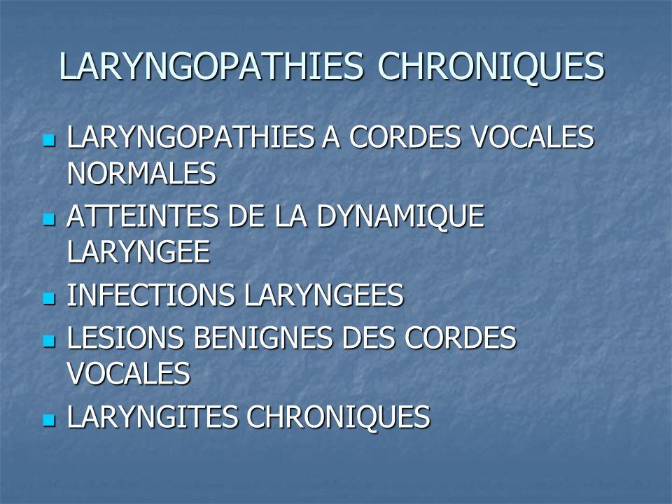 LARYNGOPATHIES A CORDES VOCALES NORMALES Dysphonies fonctionnelles : malmenage vocal Dysphonies fonctionnelles : malmenage vocal Trouble de la mue Trouble de la mue Dysphonie spastique Dysphonie spastique Dysphonie psychogène Dysphonie psychogène Endocrinopathies : amylose, LED, SPA….
