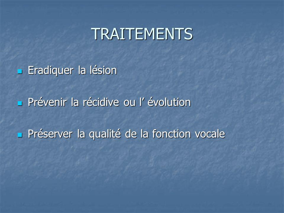 TRAITEMENTS Eradiquer la lésion Eradiquer la lésion Prévenir la récidive ou l évolution Prévenir la récidive ou l évolution Préserver la qualité de la