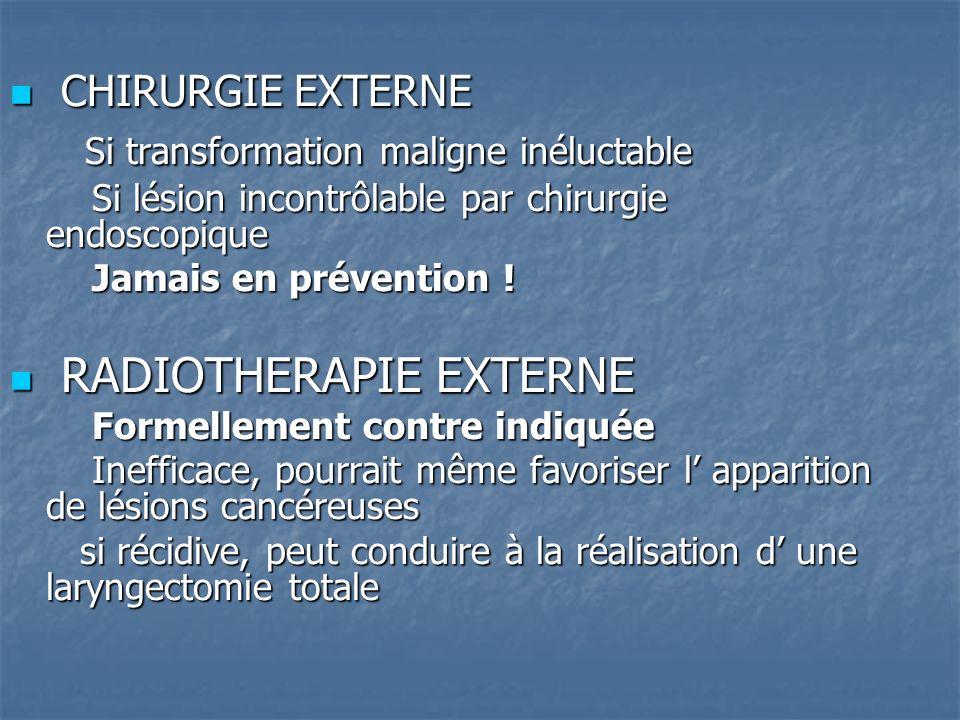 CHIRURGIE EXTERNE CHIRURGIE EXTERNE Si transformation maligne inéluctable Si transformation maligne inéluctable Si lésion incontrôlable par chirurgie