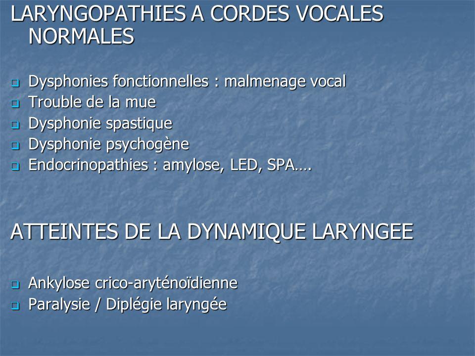 LARYNGOPATHIES A CORDES VOCALES NORMALES Dysphonies fonctionnelles : malmenage vocal Dysphonies fonctionnelles : malmenage vocal Trouble de la mue Tro