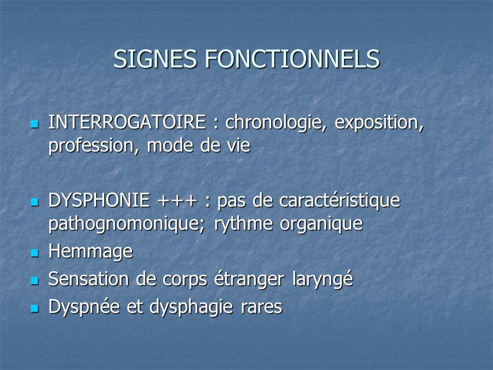 SIGNES FONCTIONNELS INTERROGATOIRE : chronologie, exposition, profession, mode de vie INTERROGATOIRE : chronologie, exposition, profession, mode de vi