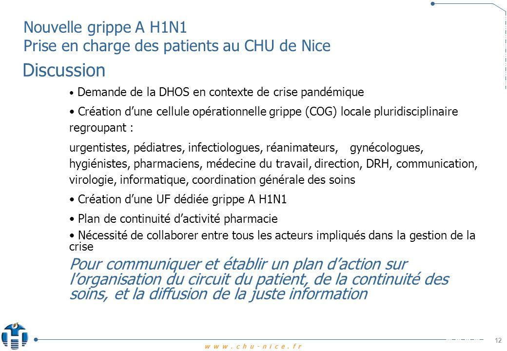 www.chu-nice.fr Nouvelle grippe A H1N1 Prise en charge des patients au CHU de Nice 13 Sites utiles Afssaps Haut Conseil de Santé Publique Institut de Veille Sanitaire Ministère de la Santé http://invs.sante.fr/display/?doc=surveillance/grippe_dossier/index_h1n1.htm http://www.hcsp.fr/explore.cgi/accueil?ae=accueil http://www.afssaps.fr/ http://www.sante-sports.gouv.fr/grippe/