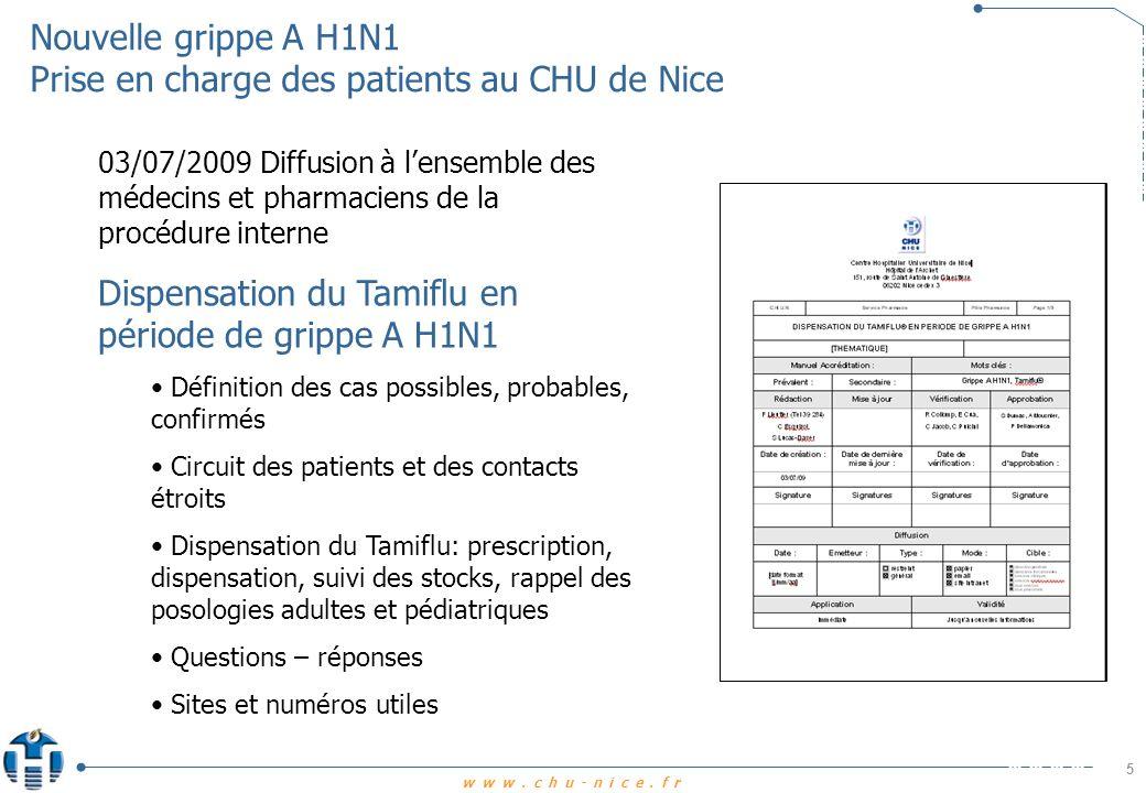 www.chu-nice.fr Nouvelle grippe A H1N1 Prise en charge des patients au CHU de Nice 6 Dispensation du Tamiflu Cas particuliers prescriptions en pédiatrie Posologies pédiatriques dans le cadre de lAMM à partir de 1 an Dans lattente de recommandations nationales, diffusion locale de modalités de reconstitution de Tamiflu liquide à 5 mg/ml pour les enfants dans le cas de la grippe pandémique (département de Santé Publique Illinois, USA 28/4/09)