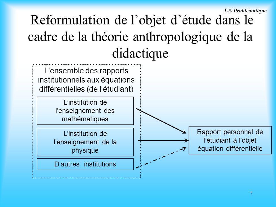 7 Reformulation de lobjet détude dans le cadre de la théorie anthropologique de la didactique Reformulation de lobjet détude dans le cadre de la théor