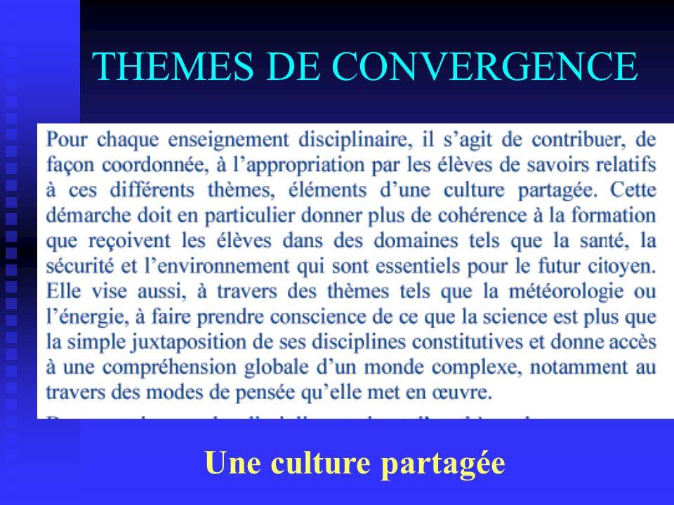 THEMES DE CONVERGENCE Létude de sujets essentiels pour lindividu et la société …