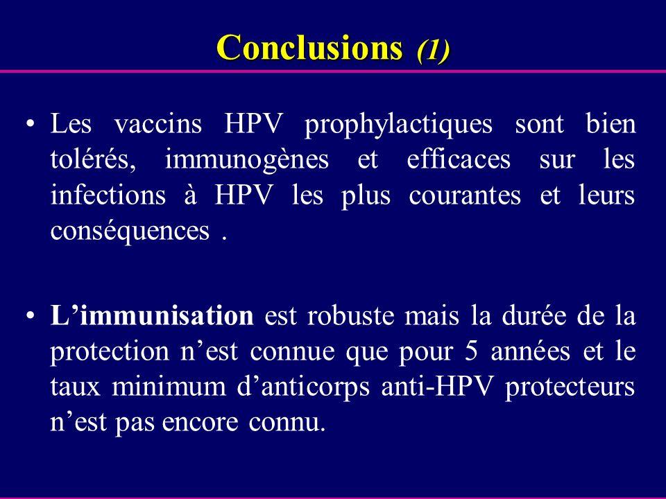 Conclusions (1) Les vaccins HPV prophylactiques sont bien tolérés, immunogènes et efficaces sur les infections à HPV les plus courantes et leurs consé