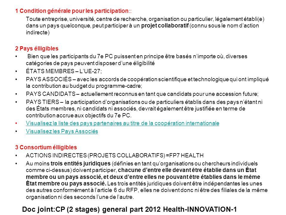 1 Condition générale pour les participation:: Toute entreprise, université, centre de recherche, organisation ou particulier, légalement établi(e) dan