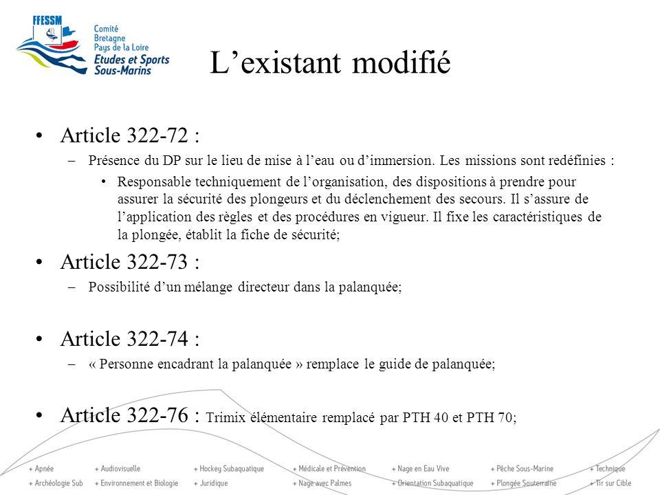 Lexistant modifié Article 322-72 : –Présence du DP sur le lieu de mise à leau ou dimmersion. Les missions sont redéfinies : Responsable techniquement
