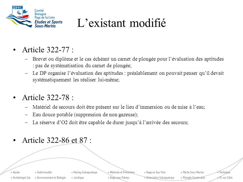 Lexistant modifié Article 322-77 : –Brevet ou diplôme et le cas échéant un carnet de plongée pour lévaluation des aptitudes : pas de systématisation d