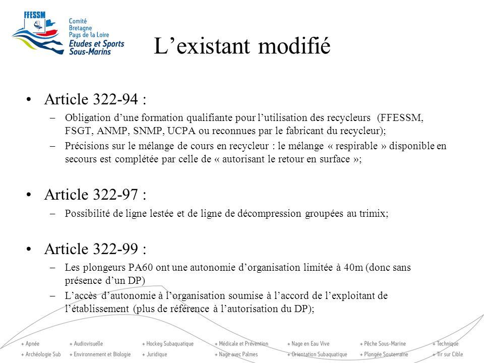 Lexistant modifié Article 322-94 : –Obligation dune formation qualifiante pour lutilisation des recycleurs (FFESSM, FSGT, ANMP, SNMP, UCPA ou reconnue