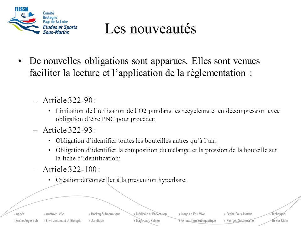 Les nouveautés De nouvelles obligations sont apparues. Elles sont venues faciliter la lecture et lapplication de la règlementation : –Article 322-90 :