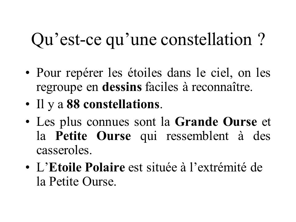 Des constellations