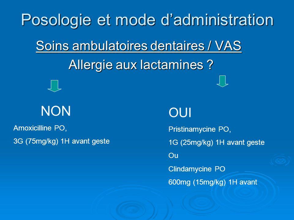 Posologie et mode dadministration Soins ambulatoires dentaires / VAS Soins ambulatoires dentaires / VAS Allergie aux lactamines ? Allergie aux lactami