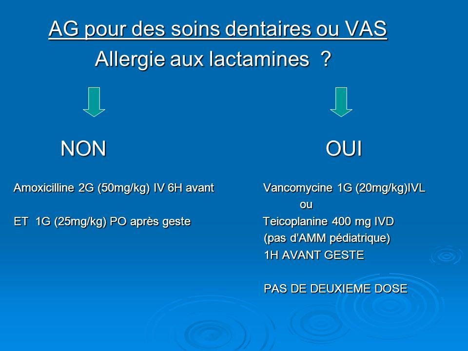 AG pour des soins dentaires ou VAS AG pour des soins dentaires ou VAS Allergie aux lactamines ? Allergie aux lactamines ? NON OUI NON OUI Amoxicilline