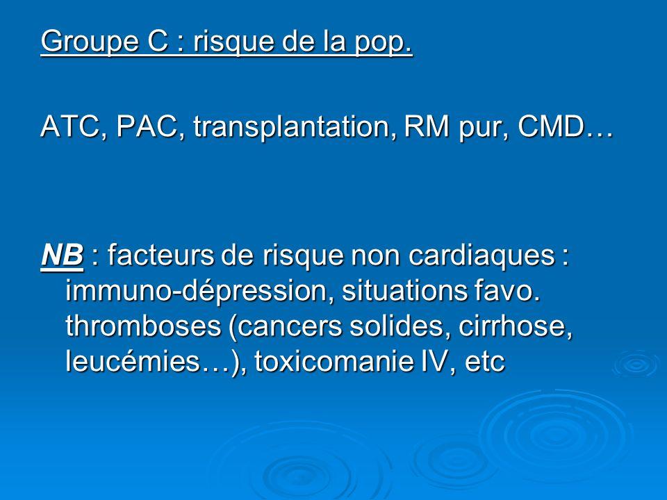 Groupe C : risque de la pop. ATC, PAC, transplantation, RM pur, CMD… NB : facteurs de risque non cardiaques : immuno-dépression, situations favo. thro